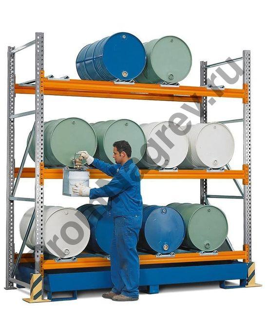 Комбинированный стеллаж под хранение 12 бочек (200 л), большой окрашенный поддон.