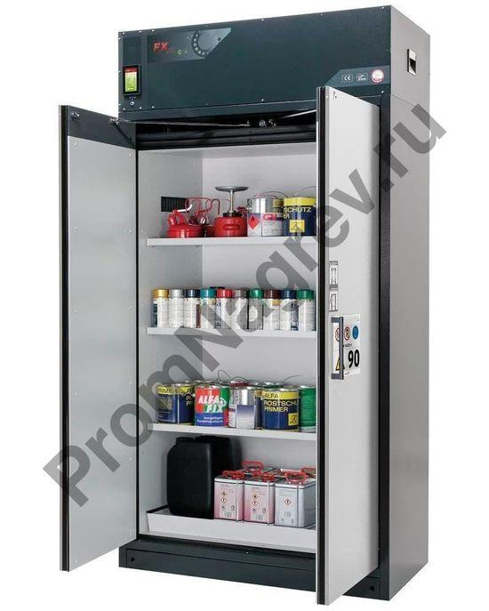 Огнестойкий шкаф Custos для опасных веществ с циркуляционным фильтром, двери серого цвета, с 3 полками, тип E-123.