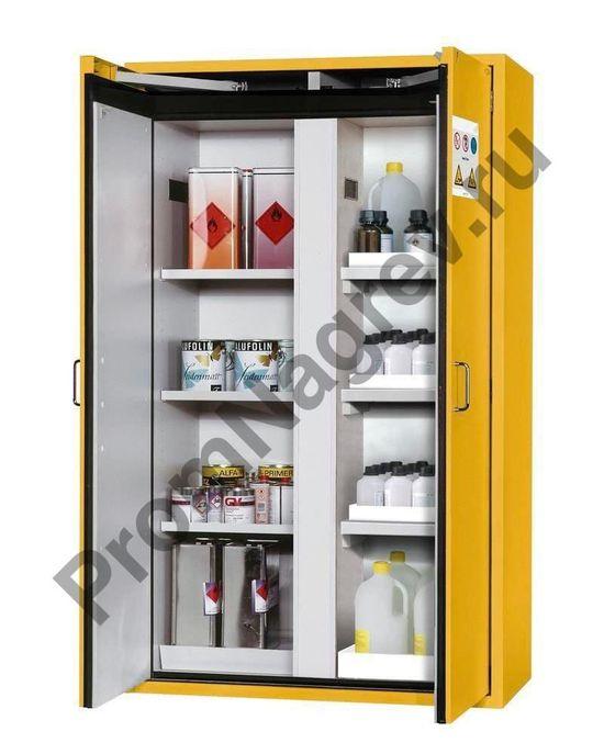 Огнезащитный шкаф Edition для хранения опасных веществ, с полками и поддонами (пластик и сталь).