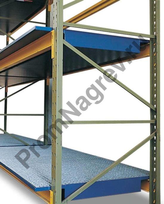 Окрашенный стальной поддон для стеллажа SRW 27.11, с оцинкованной решеткой, под полки шириной 2700 мм.