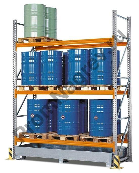 Стеллаж для паллетов, вмещающий 6 европоддонов или 3 химических паллета, 3 уровня хранения.