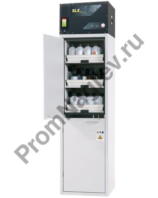 Шкаф с рециркуляцией воздуха для кислот и щелочей на шесть выдвижных лотков, 2 отсека, тип C-606.