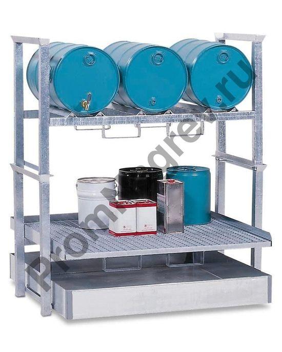 Стеллаж для 3 бочек по 60 литров и небольших ёмкостей, со стальным поддоном.