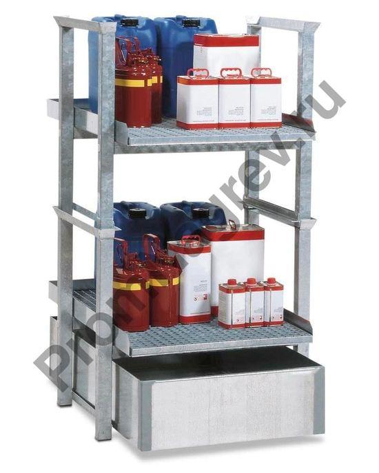 Стеллаж для небольших контейнеров с полиэтиленовым поддоном и двумя оцинкованными решётками.