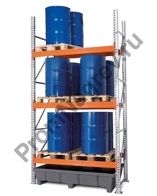 Стеллаж на 6 европоддонов или 3 химических паллета, 3 полки, полиэтиленовый поддон.