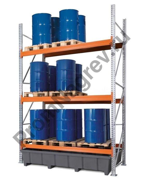 Стеллаж под паллеты (9 европаллетов / 6 химических паллетов), 3 уровня хранения.