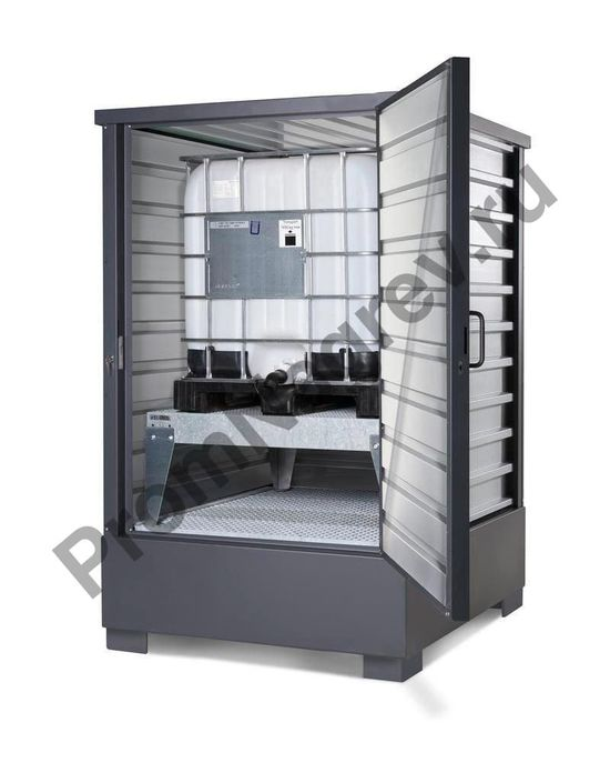 Оцинкованный контейнер для хранения ЛВЖ и водоопасных веществ, для 4 бочек по 200 литров или 1 еврокуба по 1000 литров, 1725 x 2500 x 1865 мм
