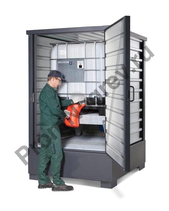 Оцинкованный контейнер для хранения ЛВЖ и водоопасных веществ, для 1 еврокуба по 1000 литров