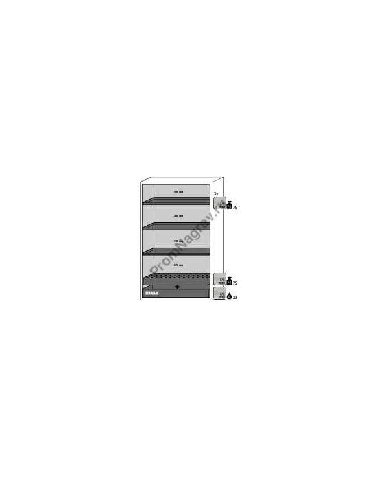 Вместительный огнестойкий шкаф, схема с размерами и грузоподъемностью.