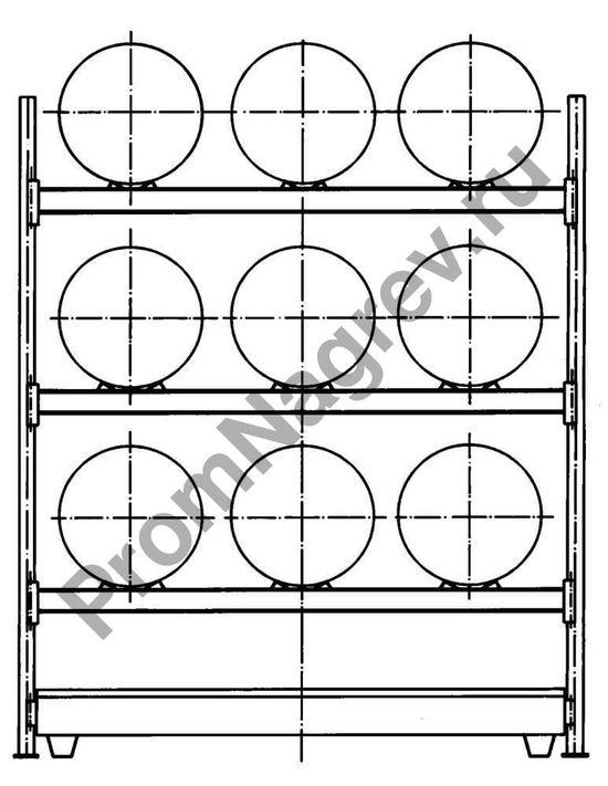 Схема стеллажа со тальным поддоном, вместимостью девять бочек.