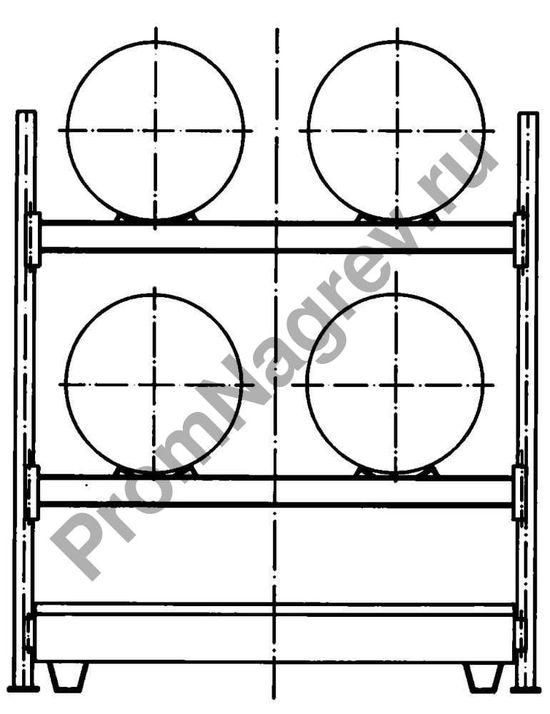 Стеллаж под 4 бочки, поддон из полиэтилена, схема.
