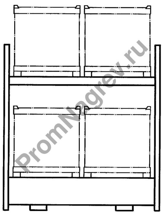 Схема стеллажа комбинированного для паллетов.