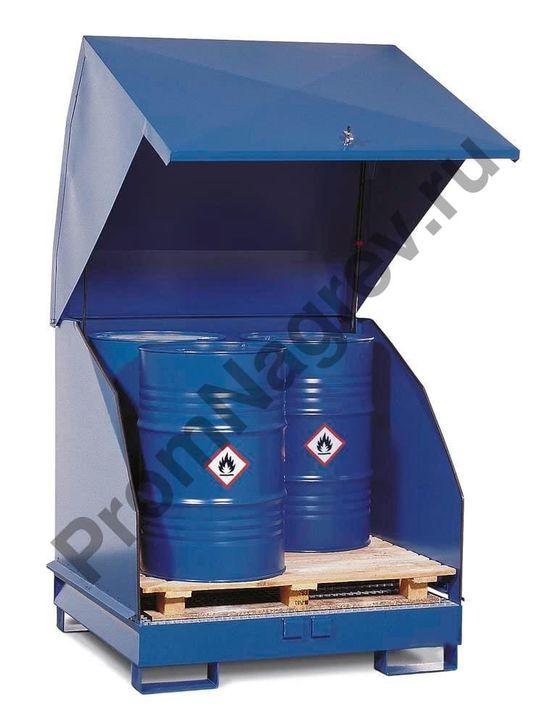 Станция 4 GST-KS для содержания опасных веществ с естественной вентиляцией, для 4 бочек по 200 литров, окрашенная сталь.