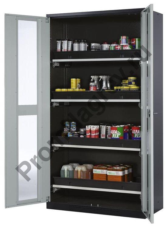Химический шкаф Systema-T CS-104G с серыми дверями и 4 выдвижными ёмкостями.