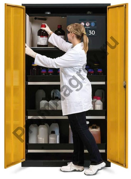 Шкаф с выдвижными лотками и защитным коробом (антрацит/желтый), Systema-Plus-T.