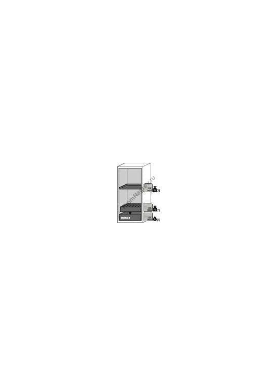 Шкаф для опасных веществ, узкий, схема с размерами.