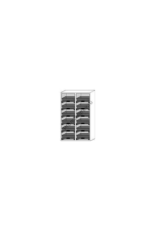 Шкаф с рециркуляцией воздуха для кислот и щелочей, 12 выдвижных поддонов, схема внутреннего строения и оснащения.
