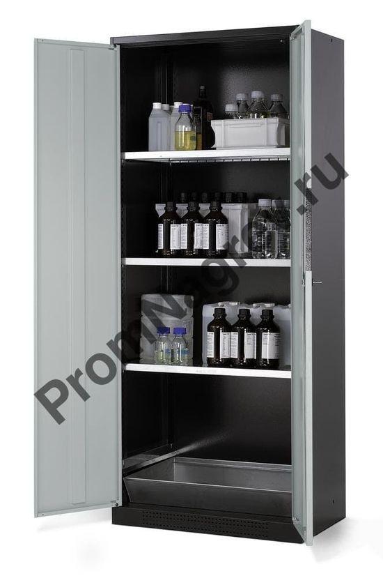 Шкаф для хранения химикатов, распашные двери, 3 съёмные полки и сточный поддон