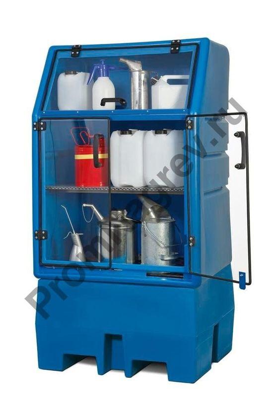 Полиэтиленовый PolySafe склад для хранения опасных веществ, PSR 8.8, с дверьми и стальной решёткой, на 1 бочку (200 л).