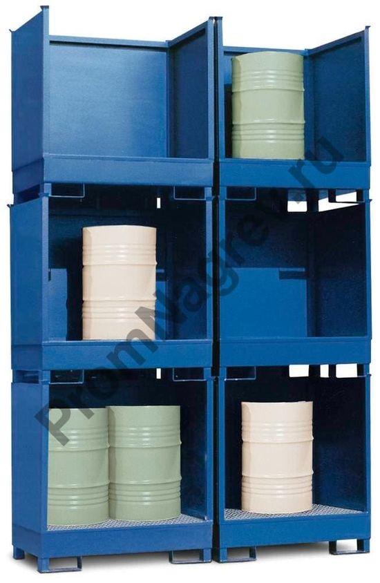 Станция хранения из стали, окрашенная, трёхстенная, штабелируемая, для двух бочек (200 л).