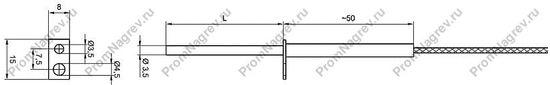 Штырьковая термопара TES-LP34 диаметр 3,5 мм