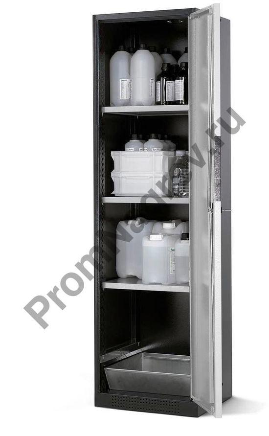 Шкаф для химикатов Systema CS-53R, антрацитовый корпус, серебристые двери, 3 полки и напольный поддон.