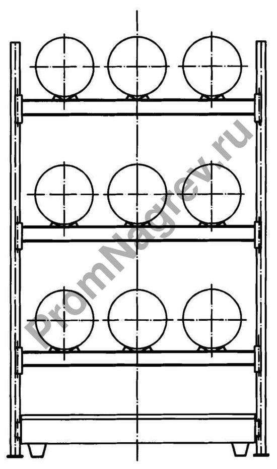 Стеллаж, вмещающий 9 бочек, поддон из стали, схема.