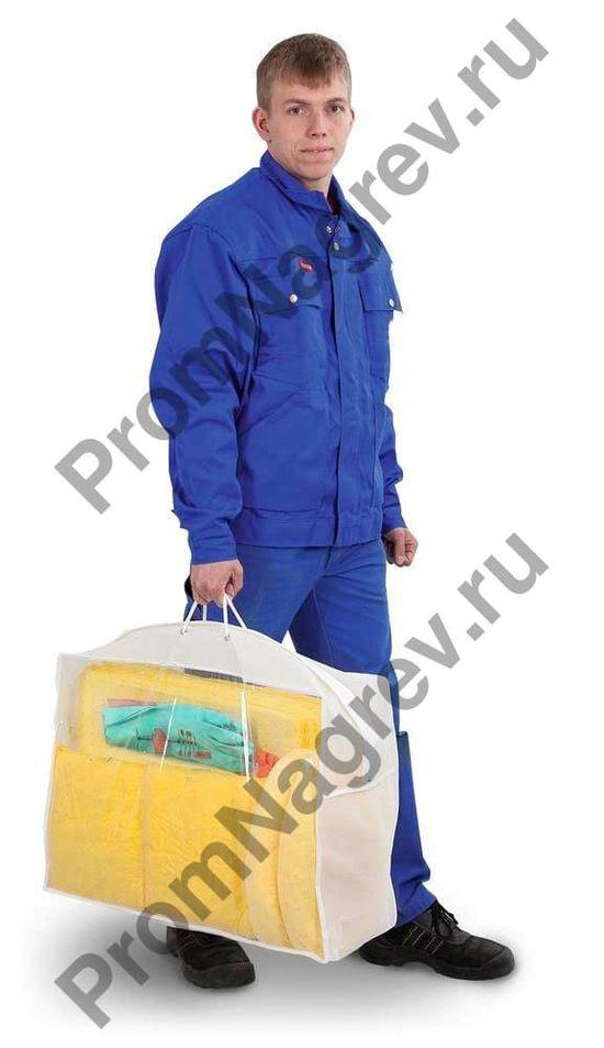 Аварийный набор в прозрачной сумке для переноски (сорбенты под нефть и масло).